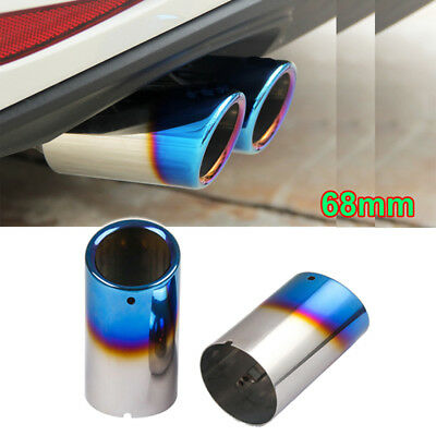 for VW Golf Scirocco VI Stainless Steel Exhaust Tip Rear Muffler Pipe Blue 68mm