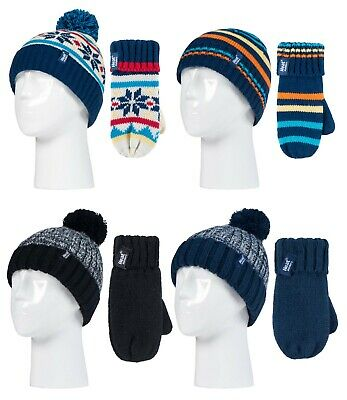 Heat Holders - Kids Boys Winter Fleece Lined Thermal Bobble Hat and Mittens Set
