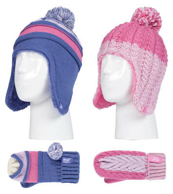 Heat Holders - Kids Girls Knit Thermal Bobble Hat and Mittens Set with Ear Flaps