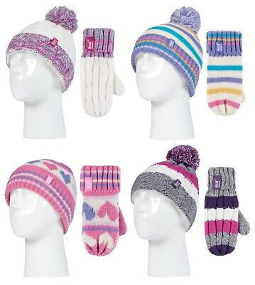 Heat Holders - Kids Girls Cute Winter Thermal Pom Pom Bobble Hat and Mittens Set