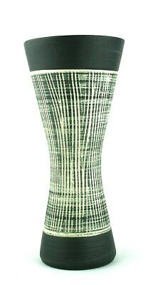 Vintage Irish Kilrush Ceramics Waisted Vase Ribbed 111/25 24.5 cm