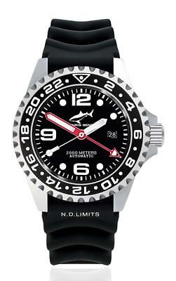 Chris Benz Deep Automatic 2000m Gmt  Flat Ghost Fish Black   Rubber Strap