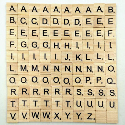 Tiles Alphabets Wood Numbers Wooden Toy Crafts Letters Scrabble 100 Pcs Baby