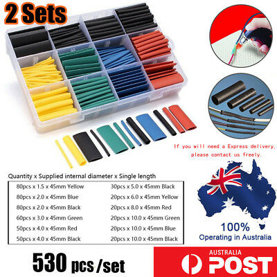 2 x 530Pcs Assorted 2:1 Heat Shrink Tubing Tube Cable Sleeving Wrap Wire Kit Box