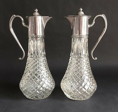 Stylish Pair Of Vintage Silver-Plated Glass Claret Jugs, Wine Decanters