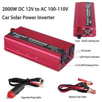 2000W DC 12V to AC 110V Car Vehicle Power Inverter Converter USB Charger Cable
