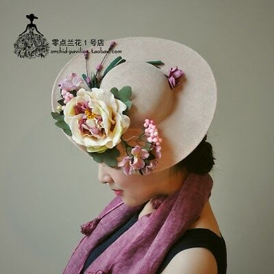 Artificial Flowers Gorgeous Flax Women/Ladies Wedding Party Formal Hat Veil New