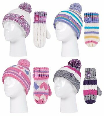 Heat Holders - Childrens Girls Colourful Warm Thermal Bobble Hat and Mittens Set