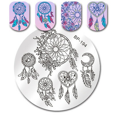 BORN PRETTY Nail Stamping Plates Dream Catcher Feather Heart Nail Art Templates