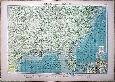 Large Original 1918 Chart of The American Atlantic Ports - South Sheet