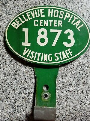 RARE NYC 1920s Bellevue Hospital visiting staff car parking tag