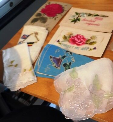 Wwi 3 Postcards Embroidered French, 4 French Hankies Handpainted, Or Embroidered