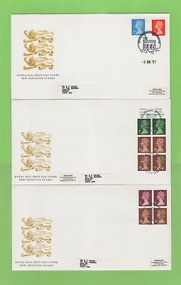 G.B. 1991 booklet panes/definitives on three Royal Mail First Day Covers