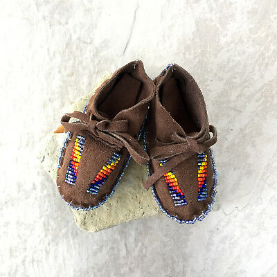 Native American Baby Moccasins Soft Sole Shoe  -  Leather-Handmade - Beaded