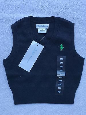Ralph Lauren Vest 3 Month blue baby boy V neck 000 Shower Gift Cardigan Designer