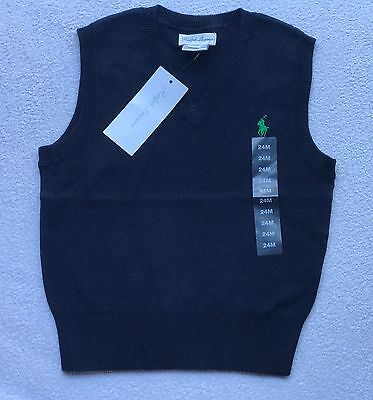 Ralph Lauren Vest 12 month baby boy V neck 1 designer gift sweater jumper top