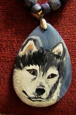 Alaskan Malamute hand painted on teardrop striped Agate pendant/bead/necklace