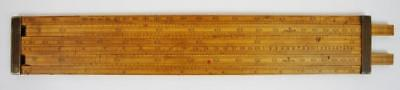 "Victorian 12"" boxwood double slide, alcohol slide rule, guager, complete, clean"