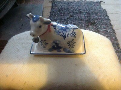 Vintage ' Delft Blue ' Hand Painted Butter Dish/ Cow Lid On Base