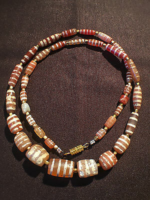 2000years+ ancient Carnelian etched line bead necklace #8911