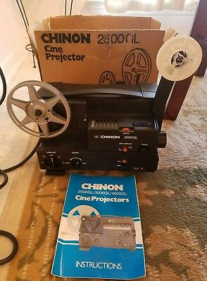 CHINON 2500GL DUAL 8mm Super 8 Reg 8mm PROJECTOR ADJUSTABLE SPEED Sold as is