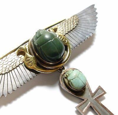 Stunning Large Antique Edwardian Egyptian Revival Silver Gold & Jade Brooch (A1)