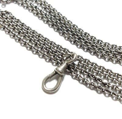 Long Antique Victorian Silver Guard Muff Chain Necklace For Pendant Locket (A3)