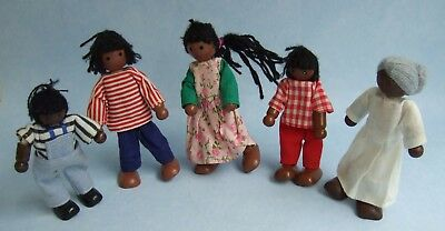 Family of 5 Wooden Dolls House Dolls, nice condition ~ please have a look (C) ~~