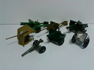 Collection of 7 various cannons die cast and plastic various scales artillery