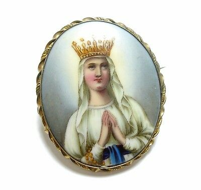 Large Antique 19Th C Victorian Porcelain Plaque Virgin Mary Or Saint Brooch (A9)