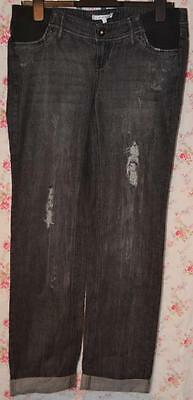 Bnwt Mamas And & Papas Washed Black Ripped Maternity Jeans Uk 10S