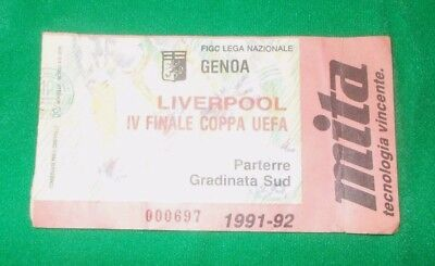 Genoa vs Liverpool UEFA Cup Quarter Final Ticket 1991-1992