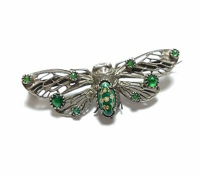 Beautiful Vintage Or Antique Cicada Beetle Enamel Brooch Possibly French (A15)
