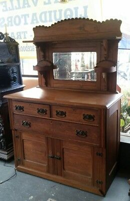 Antique Oak Sideboard/Buffet with Beveled Mirrored Back