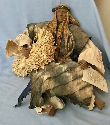 Vintage Sitting Carved Pueblo Indian  Southwestern Doll  * Male  * Very Cool