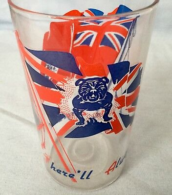 Vintage * There'll Always Be An England * Pair Of Ww2 Drinking Glasses * Rare