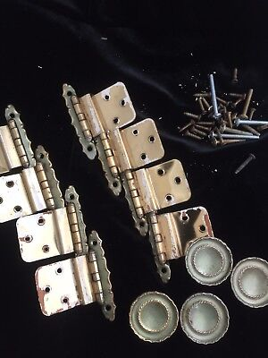 Vintage AJAX Brass / Avocado Cabinet - Or Drawer (4) Pulls & (8) Hinges