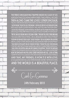 A LOVELY LOVE STORY - EDWARD MONKTON Reading Wedding Personalised Print A4