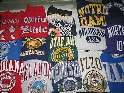 LOT OF 21 COLLEGE SWEATSHIRTS ADULT VTG 90s NOTRE DAME OHIO STATE OKLAHOMA