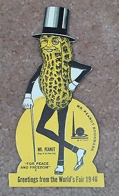 Original Unpunched Vintage 1940 Mr Peanut Ny World'S Fair Bookmark - Mint