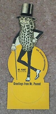 "Rare Stand-Up Mr Peanut Unpunched Cardboard ""Greetings"" Bookmark -Mint"