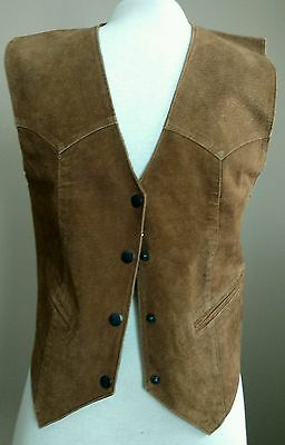 Women's Learsi Vintage Genuine Suede Leather Vest Large Brown Hippy BOHO