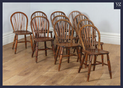 Antique Set of 10 Ten Victorian Ash & Elm Hoop Stick Spindle Back Kitchen Chairs