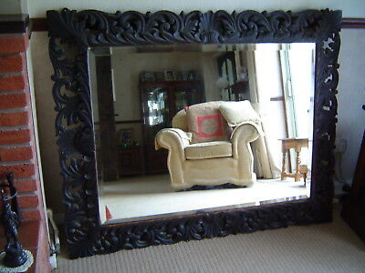 Antique / Vintage Very Large Carved Wooden Framed Mirror