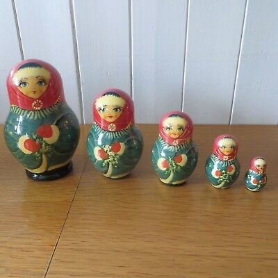 "Set Of 5 Wooden Wood Russian Nesting Dolls Size 1.3/4"" To 6"" Marked On Base"