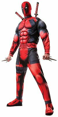 Deluxe Muscle Chest Deadpool Marvel Adult Costume For Halloween - 100% Brand New