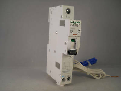 Schneider RCBO 6 Amp 30mA Type C 6A Acti9 iC60H Merlin Gerin A9D11806 NEW