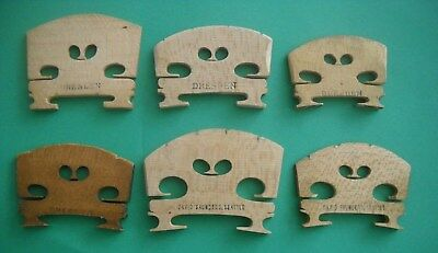 Six Vintage Violin Bridges: Four Stamped Dresden, Two David Saunders, Seattle!