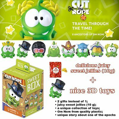"""SWEET BOX """"CUT THE ROPE """" Goody Bag with Cool Surprise 3D Toys and Candy Om Nom"""