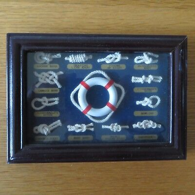 Nautical Ship 12 Knot Knotting Display Board In Frame  Shadow Box
